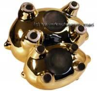 Doppel- Sparschwein Gold mit Spiegel- Effekt Keramik mit Spardosenstopfen Maße ca.: L= 18 cm - Bild vergrößern