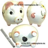 Sparschwein Riese extra Groß Dekor Blumen Keramik mit Spardosenschloss Maße ca.: L= 26 cm - Bild vergrößern