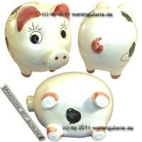 Sparschwein Riese extra Groß Dekor Kleeblatt Keramik mit Spardosenschloss Maße ca.: L= 26 cm - Bild vergrößern
