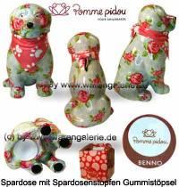 Spardose Spartier Hund Benno hellblau mit Hundehalstuch Keramik Marke Pomme Pidou Maße ca.: H= 19 cm - Bild vergrößern