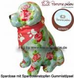 Spardose Spartier Hund Benno hellblau mit Hundehalstuch Keramik Marke Pomme Pidou Maße ca.: H= 19 cm