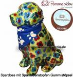 Spardose Spartier Hund Benno hellgrün mit Hundehalstuch Keramik Marke Pomme Pidou Maße ca.: H= 19 cm