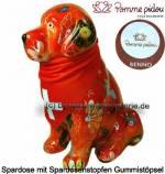 Spardose Spartier Hund Benno orange mit Hundehalstuch Keramik Marke Pomme Pidou Maße ca.: H= 19 cm