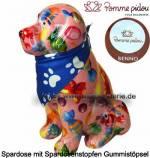 Spardose Spartier Hund Benno rosa mit Hundehalstuch Keramik Marke Pomme Pidou Maße ca.: H= 19 cm