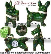 Spardose Spartier Hund Bommer dunkelgrün Keramik Marke Pomme Pidou Maße ca.: L= 17,5 cm - Bild vergrößern