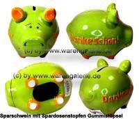 Sparschwein 3D Design Dankeschön! grün Keramik Marke KCG Maße ca.: L= 12,5 cm - Bild vergrößern