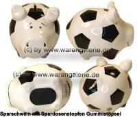 Sparschwein Fussballschwein weiß/ schwarzes Fussball Dekor Keramik Marke KCG Maße ca.: L= 12,5 cm - Bild vergrößern