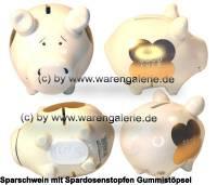 Sparschwein Dekor GOOD LUCK Goldedition weiß Keramik Marke KCG Maße ca.: L= 12,5 cm - Bild vergrößern