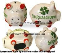 Sparschwein 3D Design Glücksschwein Luxusvariante weiß Keramik Marke KCG Maße ca.: L= 12,5 cm - Bild vergrößern