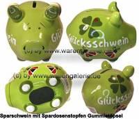 Sparschwein 3D Glücksschwein Neues Design grün Keramik Marke KCG Maße ca.: L= 12, 5 cm - Bild vergrößern
