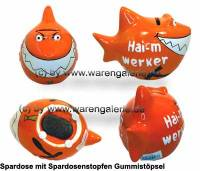 Spardose Spartier 3D Design Hai-mwerker Keramik Marke KCG Maße ca.: L= 14,5 cm - Bild vergrößern