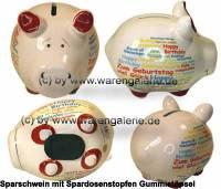 Sparschwein Happy Birthday International weiß bunte Schrift Keramik Marke KCG Maße ca.: L= 12,5 cm - Bild vergrößern