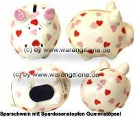 Sparschwein Herzchen- Schwein weiß mit bunten Herzchen Dekor Keramik Marke KCG Maße ca.: L= 12,5 cm - Bild vergrößern