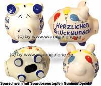 Sparschwein 3D Design Herzlichen Glückwunsch weiß mittelgroß Keramik Marke KCG Maße ca.: L= 17 cm - Bild vergrößern