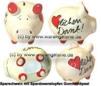 Sparschwein Herzlichen Dank weiß bunte Dekor Schrift Keramik Marke KCG Maße ca.: L= 12,5 cm - Bild vergrößern