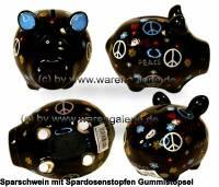 Sparschwein Hippie schwarz mit bunten Love Peace Dekor Keramik Marke KCG Maße ca.: L= 12,5 cm - Bild vergrößern