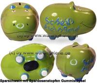 Spardose Spartier 3D Design Hippo hellgrün mittelgroß Keramik Marke KCG Maße ca.: L=  17 cm - Bild vergrößern