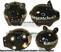 Sparschwein 3D Design Kollegenschwein schwarz Keramik Marke KCG Maße ca.: L= 12,5 cm - Bild vergrößern