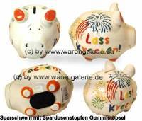 Sparschwein 3D Design Lass Krachen! weiß Keramik Marke KCG Maße ca.: L= 12,5 cm - Bild vergrößern