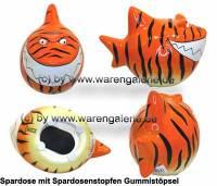 Spardose Spartier Design Tiger-Hai Keramik Marke KCG Maße ca.: L= 14,5 cm - Bild vergrößern