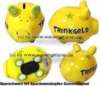 Sparschwein 3D Design Trinkgeld gelb Keramik Marke KCG Maße ca.: L= 12,5 cm - Bild vergrößern