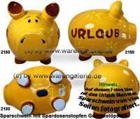 Sparschwein 3D Design Urlaub gelb Keramik Marke KCG Größe wählen Maße ca.: L= 12,5 cm bis 34 cm - Bild vergrößern