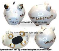 Sparschwein 3D Design Wunschtraum weiß Keramik Marke KCG Maße ca.: L= 12,5 cm - Bild vergrößern
