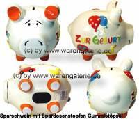 Sparschwein 3D Design Zur Geburt weiß mittelgroß Keramik Marke KCG Maße ca.: L= 17 cm - Bild vergrößern