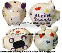 Sparschwein 3D Design Kleine Spende weiß Keramik Marke KCG Maße ca.: L= 12,5 cm - Bild vergrößern