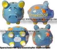 Sparschwein 3D Design Reisekasse blau mittelgroß Keramik Marke KCG Maße ca.: L= 17 cm - Bild vergrößern