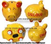 Sparschwein 3D Design Urlaub gelb mittelgroß Keramik Marke KCG Maße ca.: L= 17 cm - Bild vergrößern