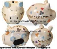 Sparschwein 3D Design Wunschtraum Goldedition weiß Keramik Marke KCG Maße ca.: L= 12,5 cm - Bild vergrößern