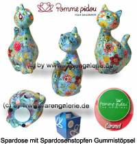 Spardose Spartier Katze Caramel hellblau Keramik Marke Pomme Pidou Maße ca.: H= 22 cm - Bild vergrößern