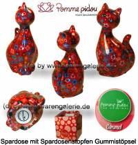 Spardose Spartier Katze Caramel rot mit bunten Blumen Keramik Marke Pomme Pidou Maße ca.: H= 22 cm - Bild vergrößern