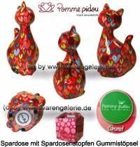 Spardose Spartier Katze Caramel rot mit bunten Herzen Keramik Marke Pomme Pidou Maße ca.: H= 22 cm - Bild vergrößern