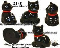 Spardose Katze Katy schwarz mit Spardosenschloss und Spardosenschlüssel Maße ca.: H= 13 cm - Bild vergrößern