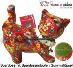 Spardose Spartier Katze Kitty rot mit Blumen Keramik Marke Pomme Pidou Maße ca.: L= 19 cm