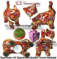 Spardose Spartier Katze Kitty rot mit Blumen Keramik Marke Pomme Pidou Maße ca.: L= 19 cm - Bild vergrößern