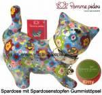Spardose Spartier Katze Kitty hellblau mit Blumen Keramik Marke Pomme Pidou Maße ca.: L= 19 cm