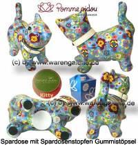 Spardose Spartier Katze Kitty hellblau mit Blumen Keramik Marke Pomme Pidou Maße ca.: L= 19 cm - Bild vergrößern