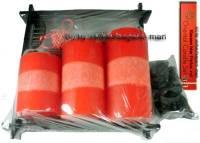 Orientales Kerzenset rot drei Kerzen rot einer schwarze Bambusplatte & Deko Maße ca.: H= 22 cm - Bild vergrößern