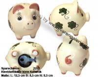 Sparschwein mit Dekor Kleeblatt klein weiß Keramik mit Spardosenschloss Maße ca.: L= 12,5 cm - Bild vergrößern