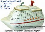 Spardose Kreuzfahrtschiff weiß aus Kunststein mit ovalen Spardosenstopfen  Maße ca.: L= 15,5 cm