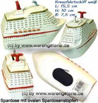 Spardose Kreuzfahrtschiff weiß aus Kunststein mit ovalen Spardosenstopfen  Maße ca.: L= 15,5 cm - Bild vergrößern