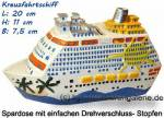 Spardose Kreuzfahrtschiff weiß/ bunt aus Kunststein mit Spardosenverschluss Maße ca.: L= 20 cm
