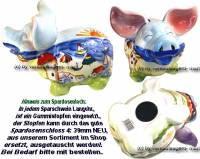 Sparschwein Langohr Motiv Design wählen Keramik mit Spardosenstopfen Stöpsel Maße ca.: L= 21 cm - Bild vergrößern