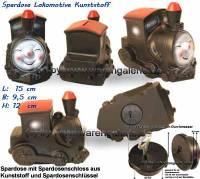 Spardose Lokomotive mit Spardosenschloss und Metall- Spardosenschlüssel Maße ca.: L= 15 cm - Bild vergrößern