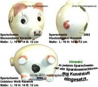 Sparschwein mit bunten Dekor Keramik Dekorvariante auswählen mit Spardosenschloss Maße ca.: L= 16 cm - Bild vergrößern