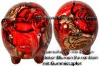 Sparschwein Design Dekor rot bunte Blüten Keramik klein Spardosenstopfen Maße: ca.: L= 13 cm - Bild vergrößern
