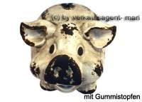 Lachendes Sparschwein mit Backen hellgrau- braun aus Keramik mit Spardosenstopfen Maße ca.: L= 18 cm - Bild vergrößern